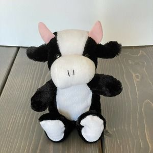 """10"""" Plush Kellytoy Cow Black White Toy"""